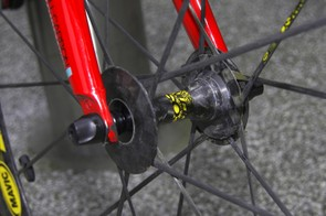 The front hub sports a decidedly sleek profile.