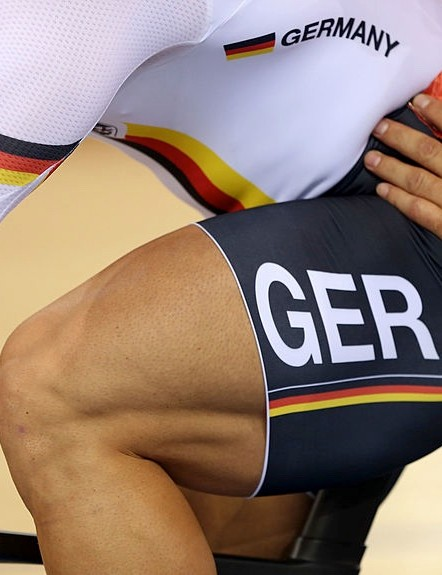 German track cyclist Robert Förstemann reputedly has the sport's biggest thighs, at around 29 inches