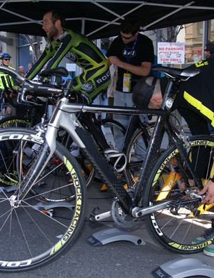 Other makes were seen within the Rock Racing warm-up tent including a camouflaged Scott Plasma…