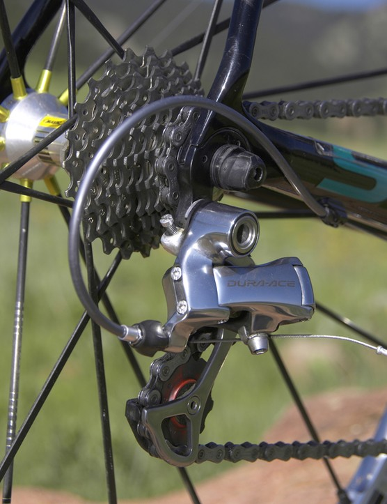 Sutherland's Dura-Ace rear derailleur looks standard enough…