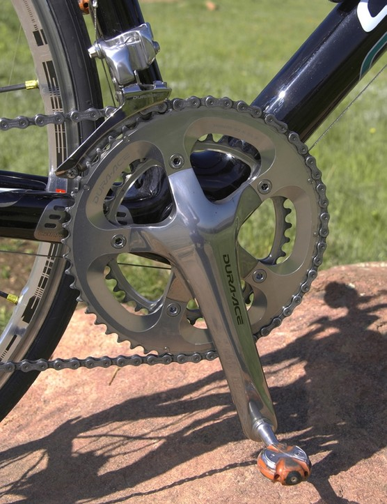 SuperSix bikes normally use BB30 cranksets but these are fitted with standard Dura-Ace units