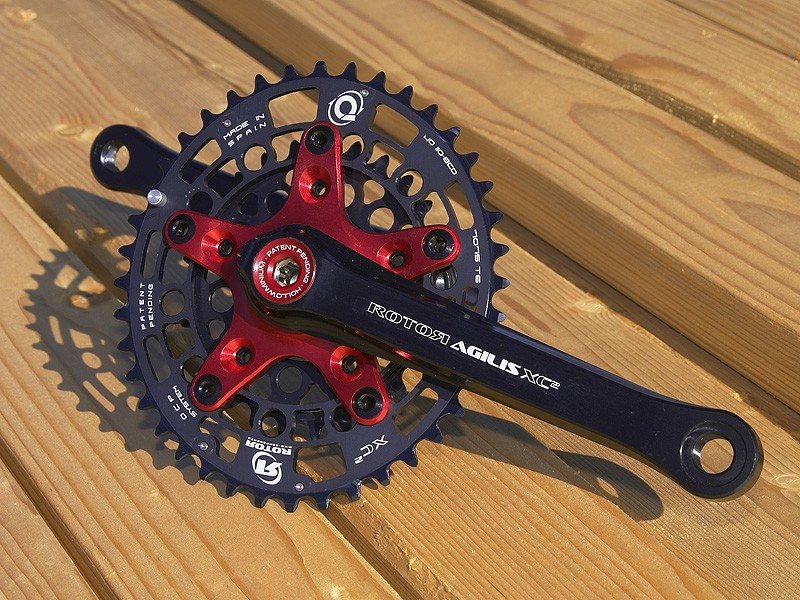 Rotor's Ágilis XC2 crankset is purpose built for cross country racing with a two-ring spider and narrower stance width.