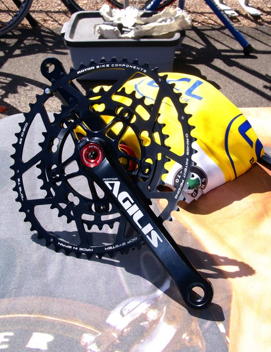 Rotor adds a 110BCD 38/53T combo for its elliptical Q-Rings.  Gee, and whose yellow jersey is that in the background?