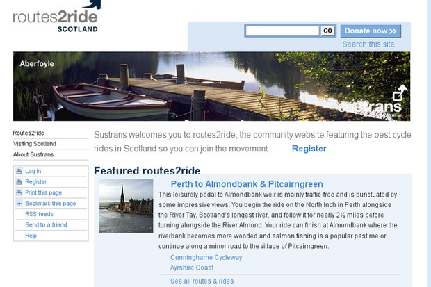 Sustrans' new Routes2Ride website for Scotland