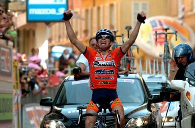 CYCLING : GIRO D'ITALIA 2004 SELLA Emanuele ( ITA ) JOIE CELEBRATION VREUGDE STAGE RIT ETAPE 11 : PORTO SANT'ELPIDIO - CESENA RONDE ITALIE / TOUR D'ITALIE