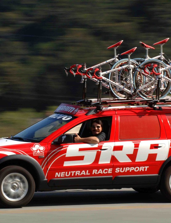 The flying red SRAM Neutral Race Support Volvo has been gaining ground every year.