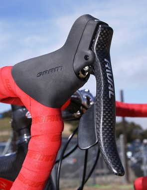 The SRAM Rival group has received substantial upgrades including carbon fiber brake lever blades.