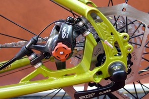 The post mount disc tabs are set within the rear triangle to keep them away from panniers.