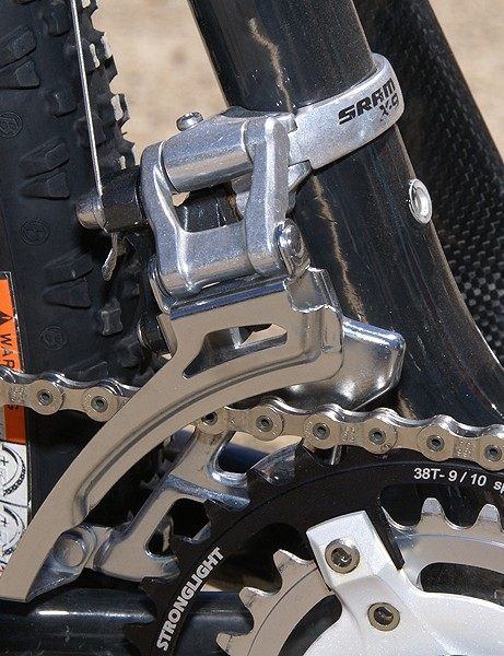 SRAM's X-9 front derailleur  takes care of business up front.