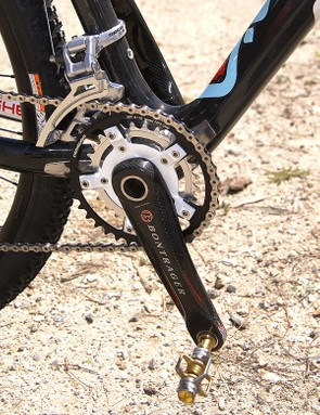 Schultz's custom Bontrager carbon crankset uses a special two-ring spider.