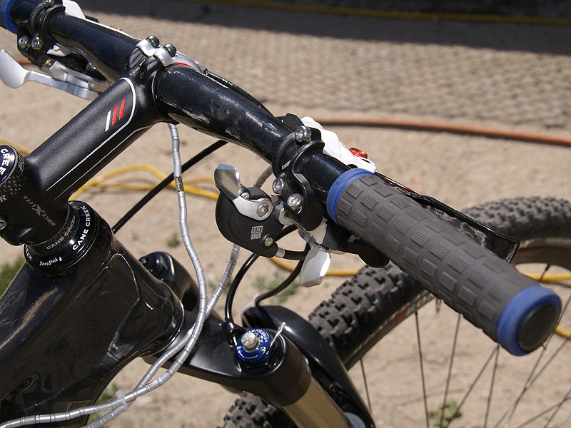 Schultz prefers a bar-mounted lockout lever for sprints and climbs.
