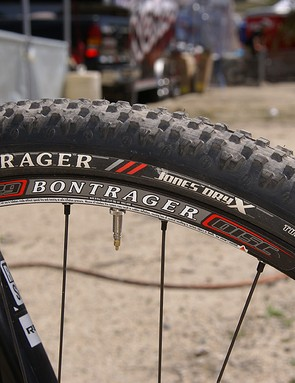Bontrager's new Jones Dry X tread pattern uses squat square knobs for good grip on hardpack