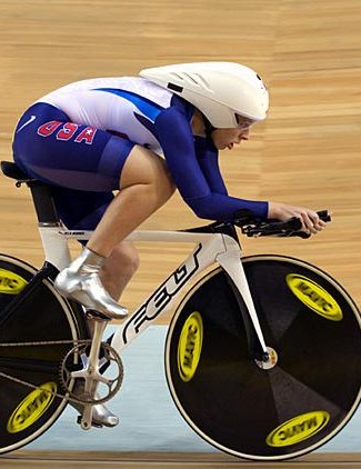 Sarah Hammer (United States) debuted a prototype Felt TK1 track frame at this year's Olympic Games.