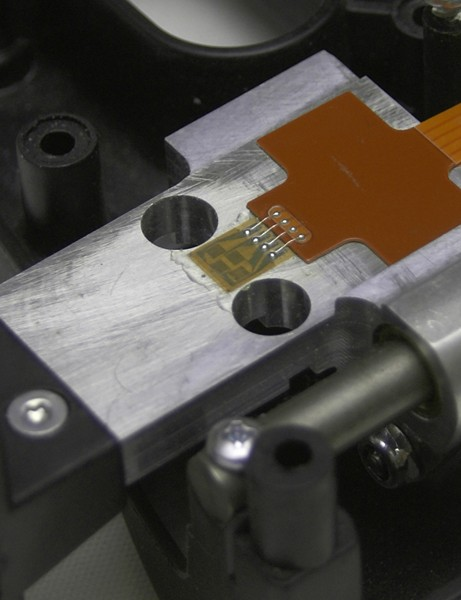 A special strain gauge applied to the beam provides the same real-time power measurement accuracy as on the company's full-blown PowerTap hubs.