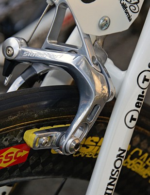 Carbon braking surfaces were handled by carbon-specific pads based on SwissStop's Yellow King.
