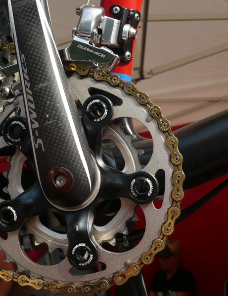 Sauser ran a two-chainring setup at the UCI world championship, complete with a rather unique-looking spider.