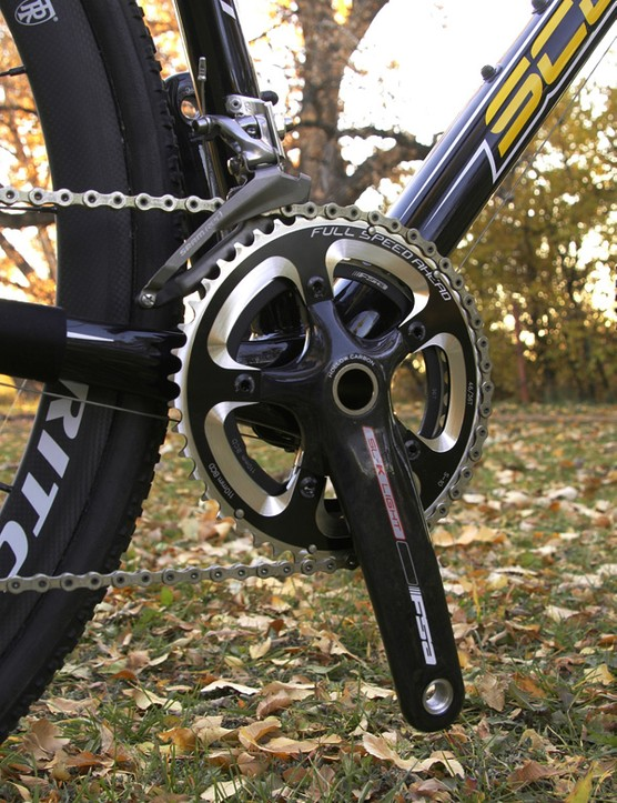 The FSA SL-K Light hollow carbon fibre crankset is fitted with 'cross-appropriate 46/36T chainrings