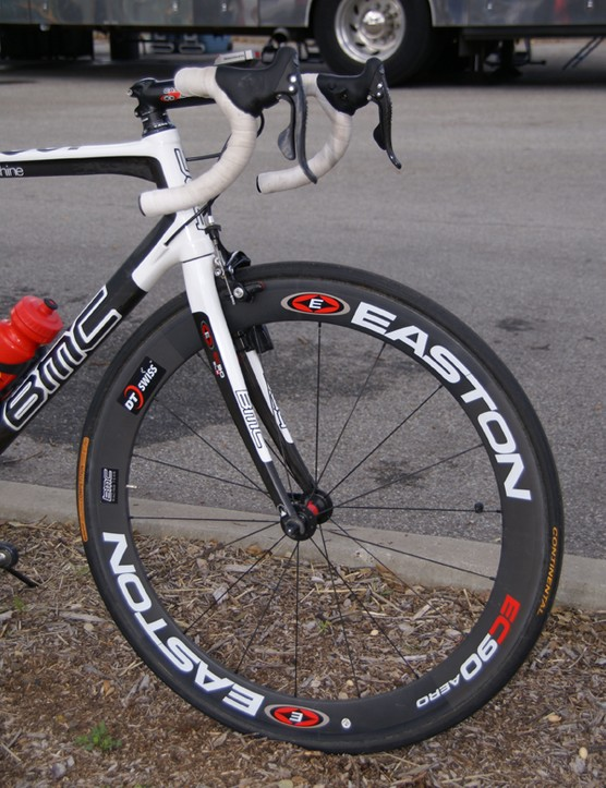The team builds its own wheels using Easton EC90 Aero deep-section carbon tubular rims.