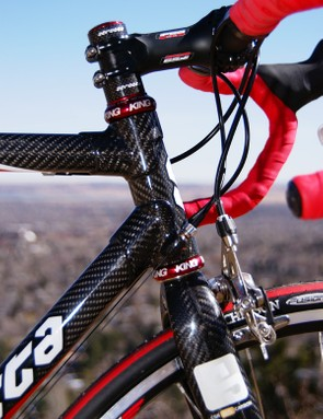 More lugs are found at the head tube with titanium inserts to reinforce the ends.