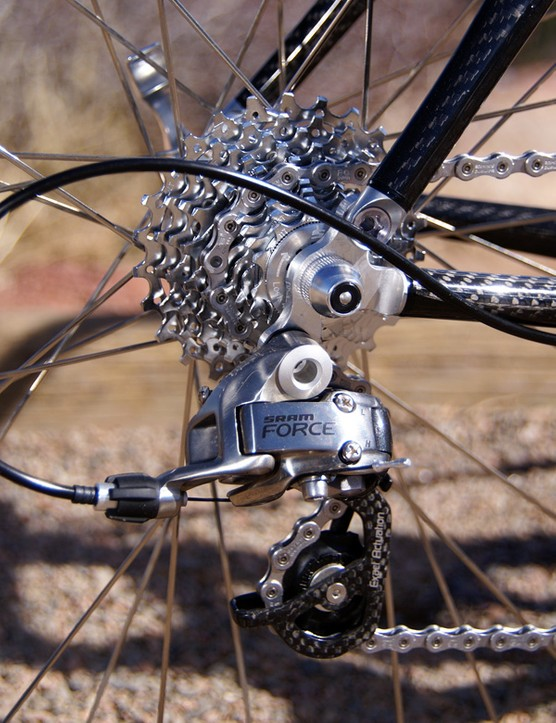 The Force rear derailleur's carbon pulley cage nicely complements the HSG Carbon's woven finish.
