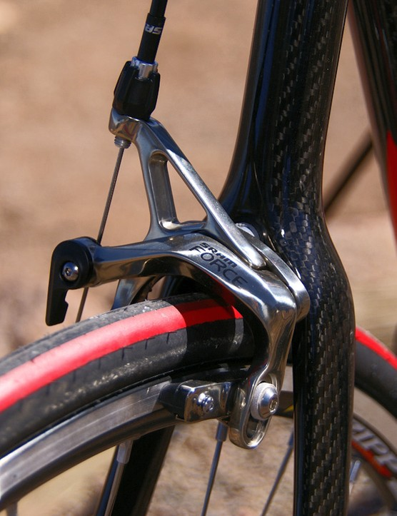 SRAM's Force brake calipers continue to provide solid stopping power.