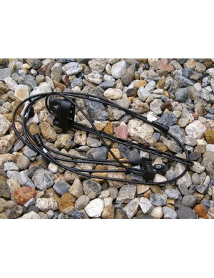 Shimano said this tangle of wires was a small price to pay for the lighter weight and better reliability as compared to a wireless setup.