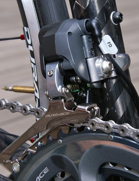 The front derailleur is arguably the most radical looking bit with its bulbous top.