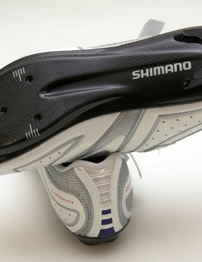 Full carbon soles suggest a stiff and light pedaling platform.