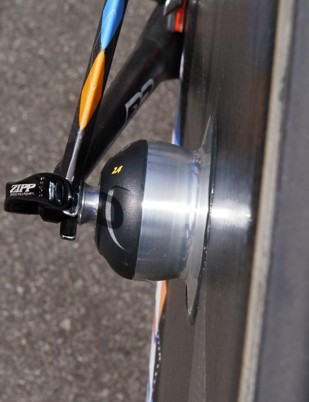 Slipstream riders used two versions of Zipp's new Powertap-equipped disc wheels.