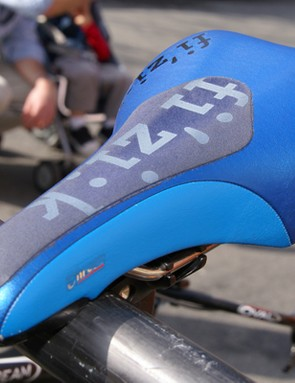 Several Slipstream guys slapped fi'zi:k's 'extra grip strip' appliqués on their saddles