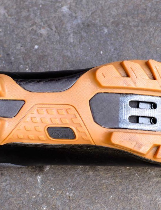 There's a grippy rubber outsole built on a stiff FACT carbon sole