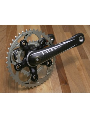 The mountain bike version of Specialized's FACT carbon cranks use a beefier lay-up and slightly revised shape relative to the road-going model.
