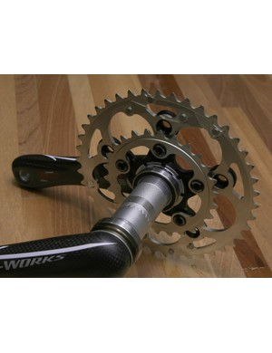 The aluminum chainring spiders are easily convertible between four-arm triple and five-arm two-chainring setups.