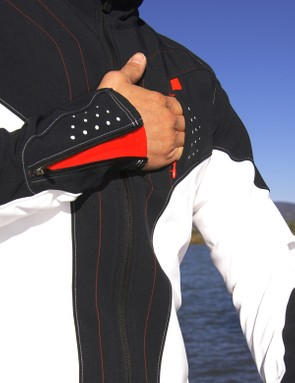 A handy chest pocket offers quick access to energy gels or your iPod
