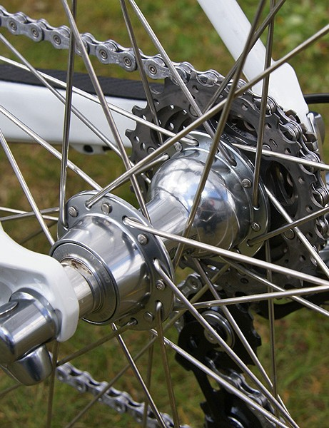 The Shimano Dura-Ace rear hub may not be sexy but it works
