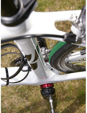 The seat tube starts out at the bottom bracket with a similar profile but ends up round up top.