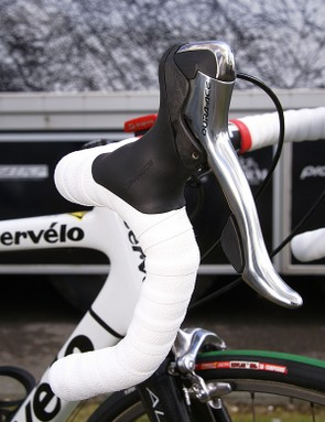Standard Dura-Ace STI Dual Control levers control the action up front.