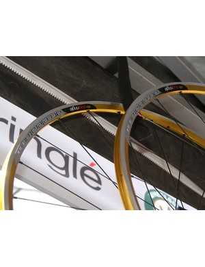 Sun-Ringle got into the gold game, too , with these gold-anodized Accelerator road wheels.