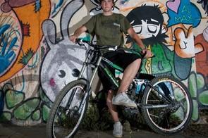 Brendan Fairclough with his Iron Horse dw-linked downhill bike