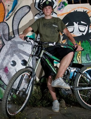 Brendan Fairclough with his Iron Horse dw-linked downhill bike