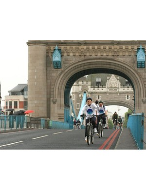 Riders tackle the Tower Bridge during the Stroke Association's Thames Bridge Bike Ride