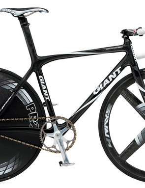 Giant outfitted its track riders with specially-made versions of its previous-generation TCR Advanced road frames.