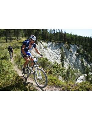 Team Arrowsmith Bike Shop rides the cliffs above the Kootenay River