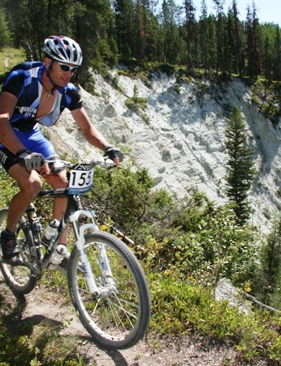Team Arrowsmith Bike Shop rides the cliffs above the Kootenay River