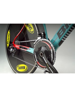 The chain stays include ports claimed to improve stiffness by adding surface area.