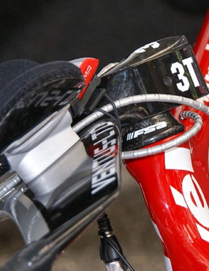 CSC's cables aren't quite as tucked away as Slipstream's but are still held tightly against the stem