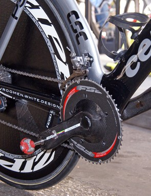 FSA still supplies the team with its cranksets which neatly round out the Dura-Ace drivetrain.