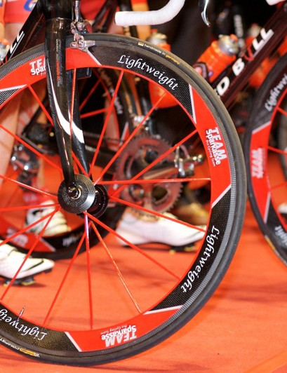 The custom-painted Lightweight wheels of the German national champion.