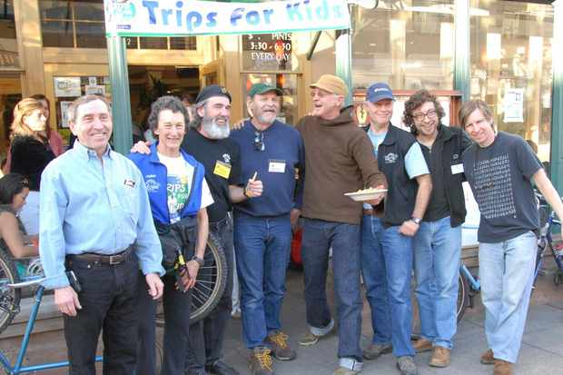 Mountain bike pioneers Mert Lawwill,  Chris Lang, Charlie Kelly, Gary Fisher, Joe Breeze and Ros Shafer join Marilyn Price at the Broken Drum last year.