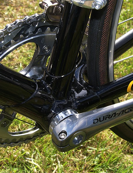 The bottom bracket area looks rather small but the stiffness is apparently still good enough.
